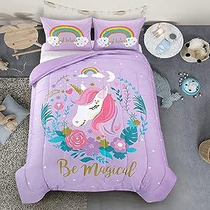 Heritage Kids Magical Unicorn Comforter Set, Full, Purple