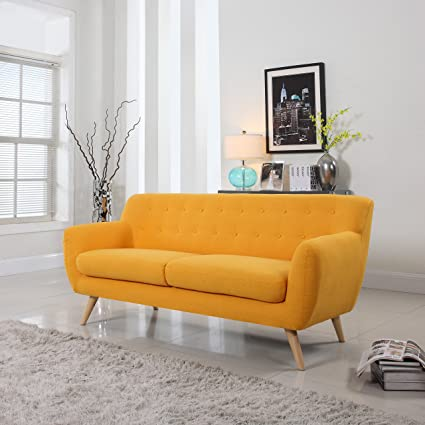 Mid-Century Modern Linen Fabric Sofa, Loveseat in Colors Light Grey, Polo Blue, Sky blue, Yellow and Red (Yellow, 3 Seater)