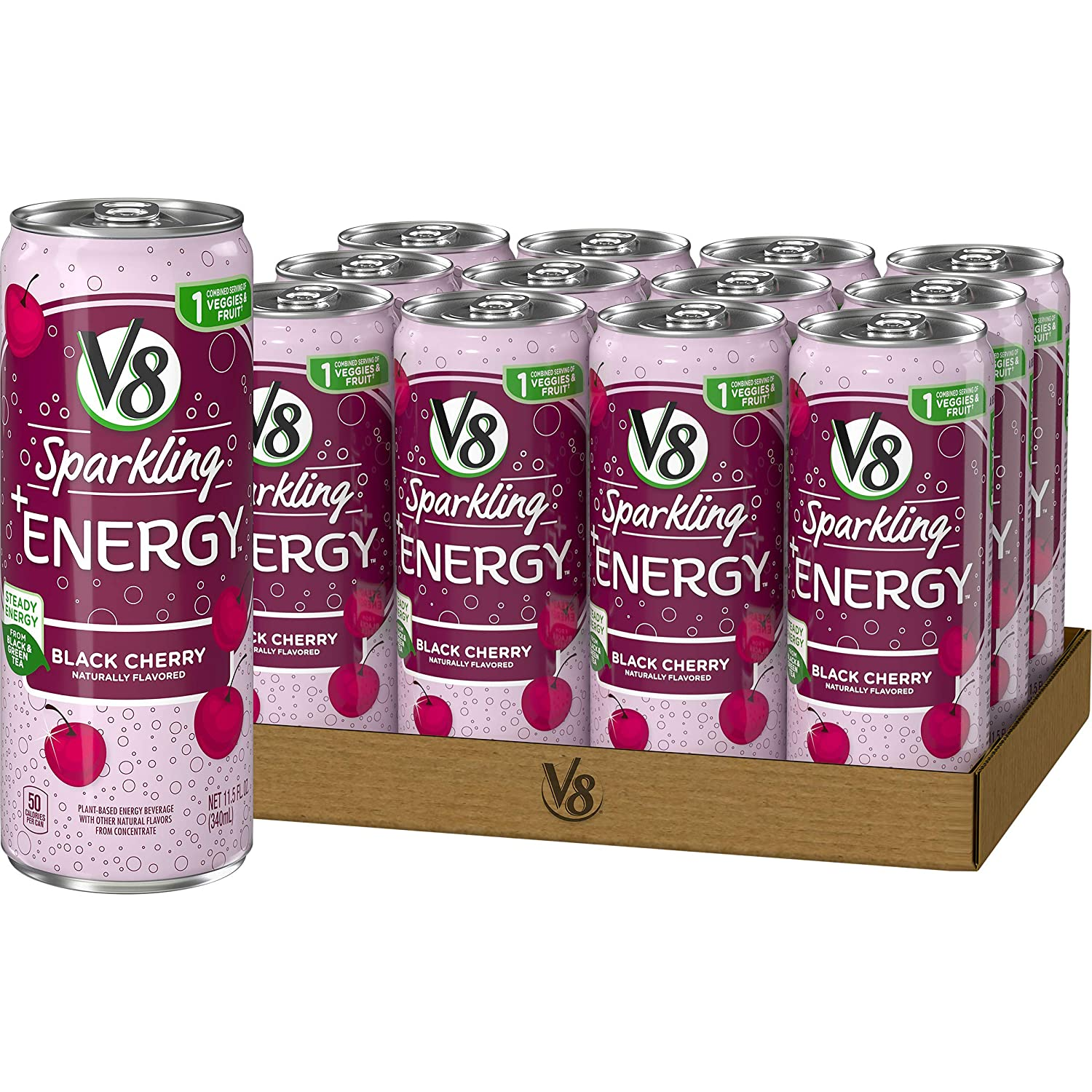 V8 Sparkling +Energy, Healthy Energy Drink, Natural Energy from Tea, 11.5 Oz Can, Black Cherry, 138 Fl Oz (Pack of 12)