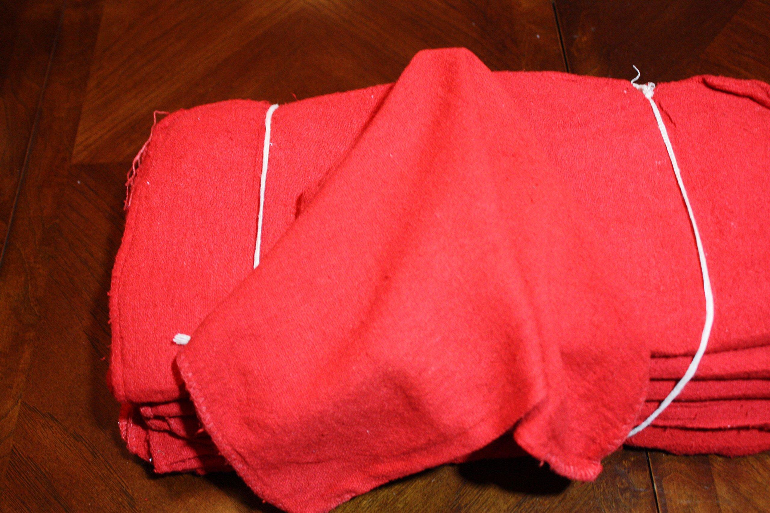 ATLAS 2500 Pieces Red Cotton Shop Towel Rags - Industrial Grade Automotive Car Industry