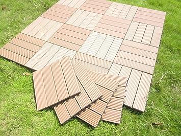 Build4eco Century Outdoor Living DIY Outdoor Deck Tile Patio Composite Wood  Decking Tile Interlocking Tiles Brown