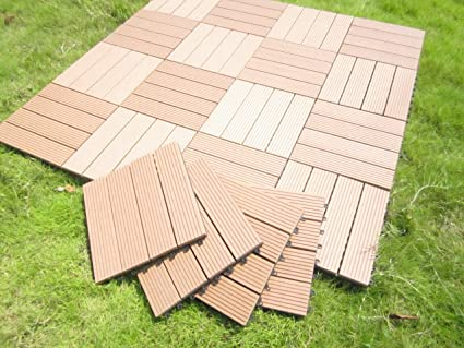Build4eco Century Outdoor Living DIY Outdoor Deck Tile Patio Composite Wood  Decking Tile Interlocking Tiles Brown