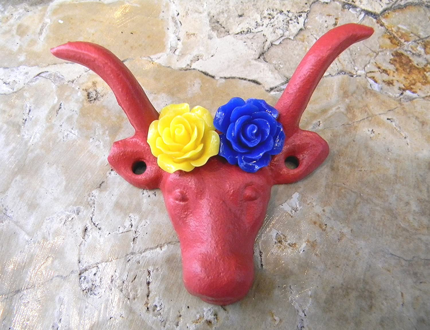 Rustic Farmhouse Decor Cast Iron Silver Wall Hanger Choice Of Flower Colors Cow Animal Hook