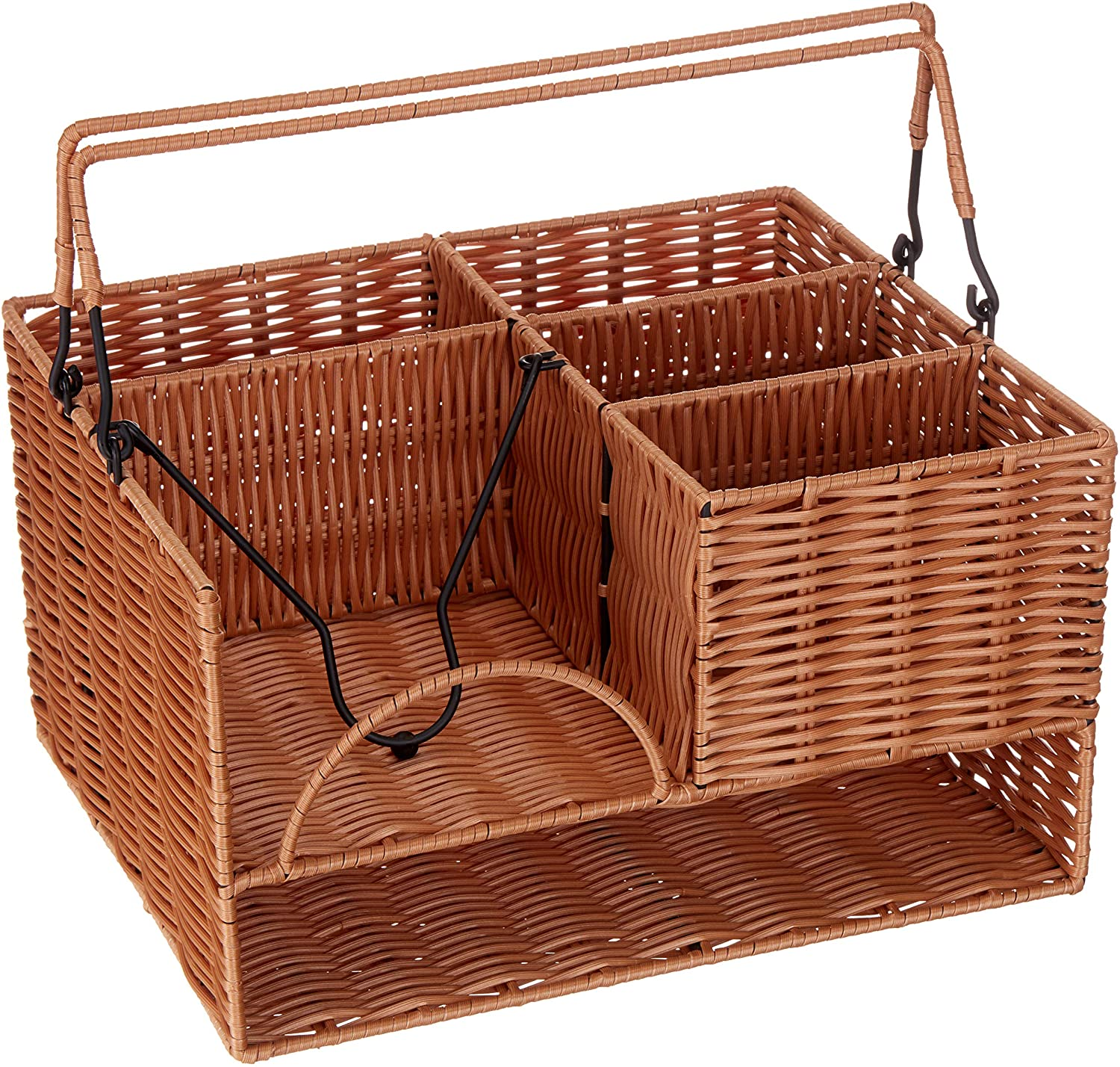 "KOVOT Poly-Wicker Tabletop Cutlery Organizer | Woven Polypropylene | Measures 13.5"" x 11"" x 7.5"""