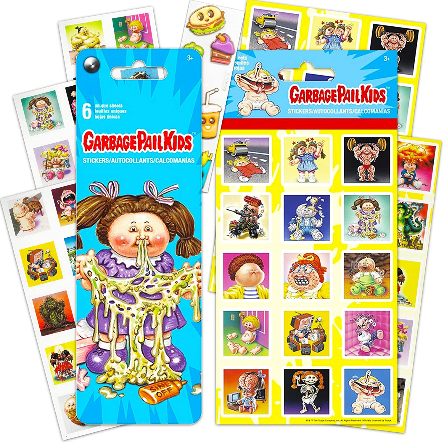 Garbage Pail Kids Party Favors Sticker Set -- Bundle Includes 10 Sheets of Garbage Pail Kids Stickers, Over 150 Stickers Total, with Bonus Food Stickers (Garbage Pail Kids Stickers and Party Favors)