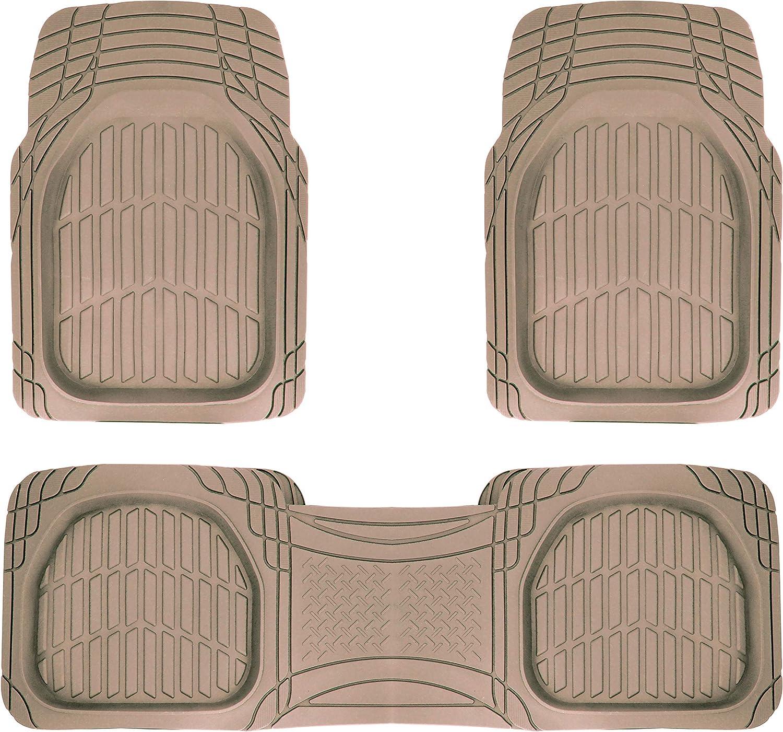 Avant et arri/ère Sumex SAND500 Lot de 3 Tapis universels en Caoutchouc antid/érapants et coupants Couleur Beige fonc/é avec Pont