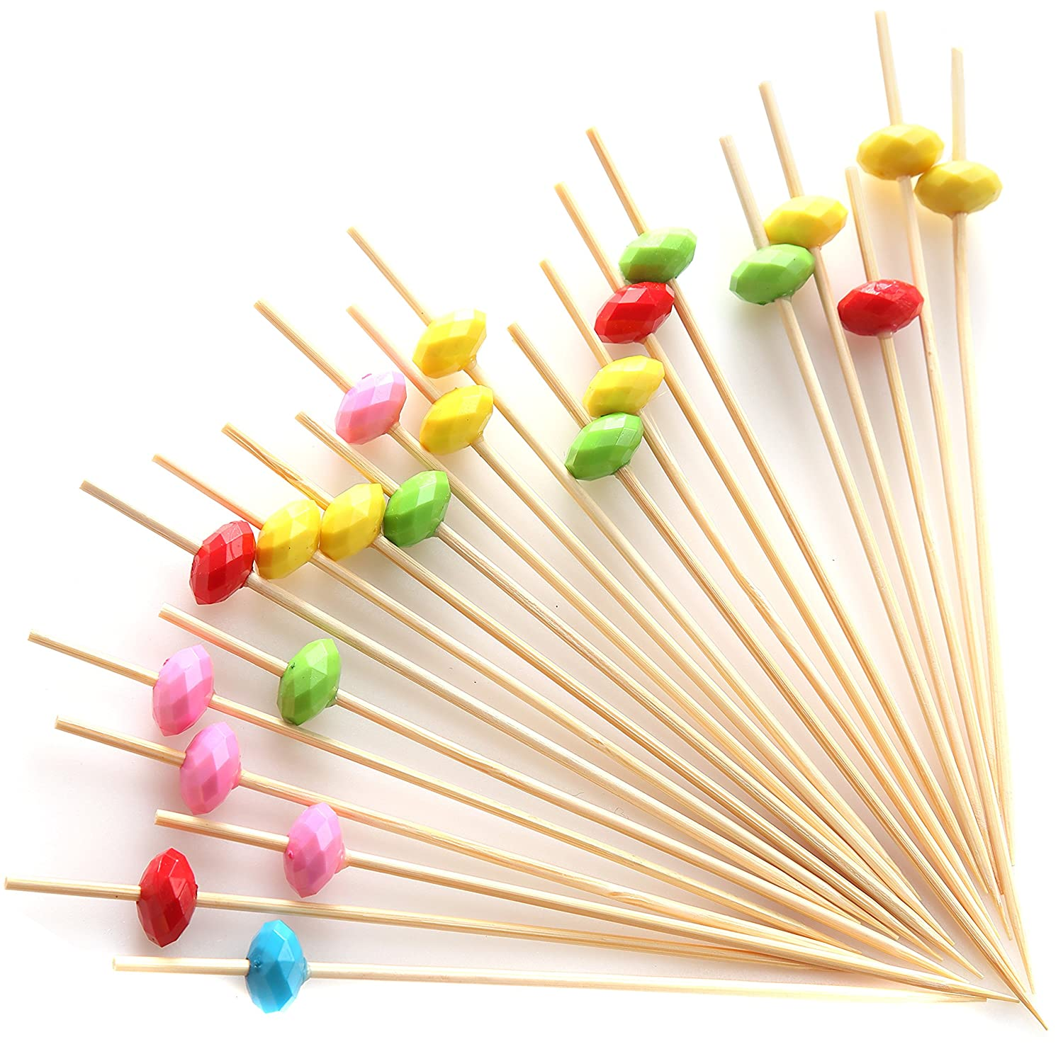 """PuTwo Cocktail Picks Bamboo Handmade Appetizer Toothpicks Sticks 4.7"""" 100ct Heart Candy in Assorted Color"""