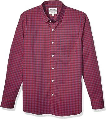 Goodthreads Camisa de Popelina elástica de Manga Larga de fácil Cuidado, Resistente a Las Arrugas Hombre