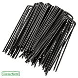 GardenMate® Pack of 100 x 6''/150mm U-shaped multi-purpose steel Garden Securing Pegs - Ideal for securing weed fabric, landscape fabric, netting, ground sheets and fleece - Made of 2.9mm thick carbon steel wire