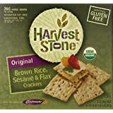 Harvest Stone Original Brown Rice, Sesame and Flax Crackers, Gluten Free, 20 Ounce