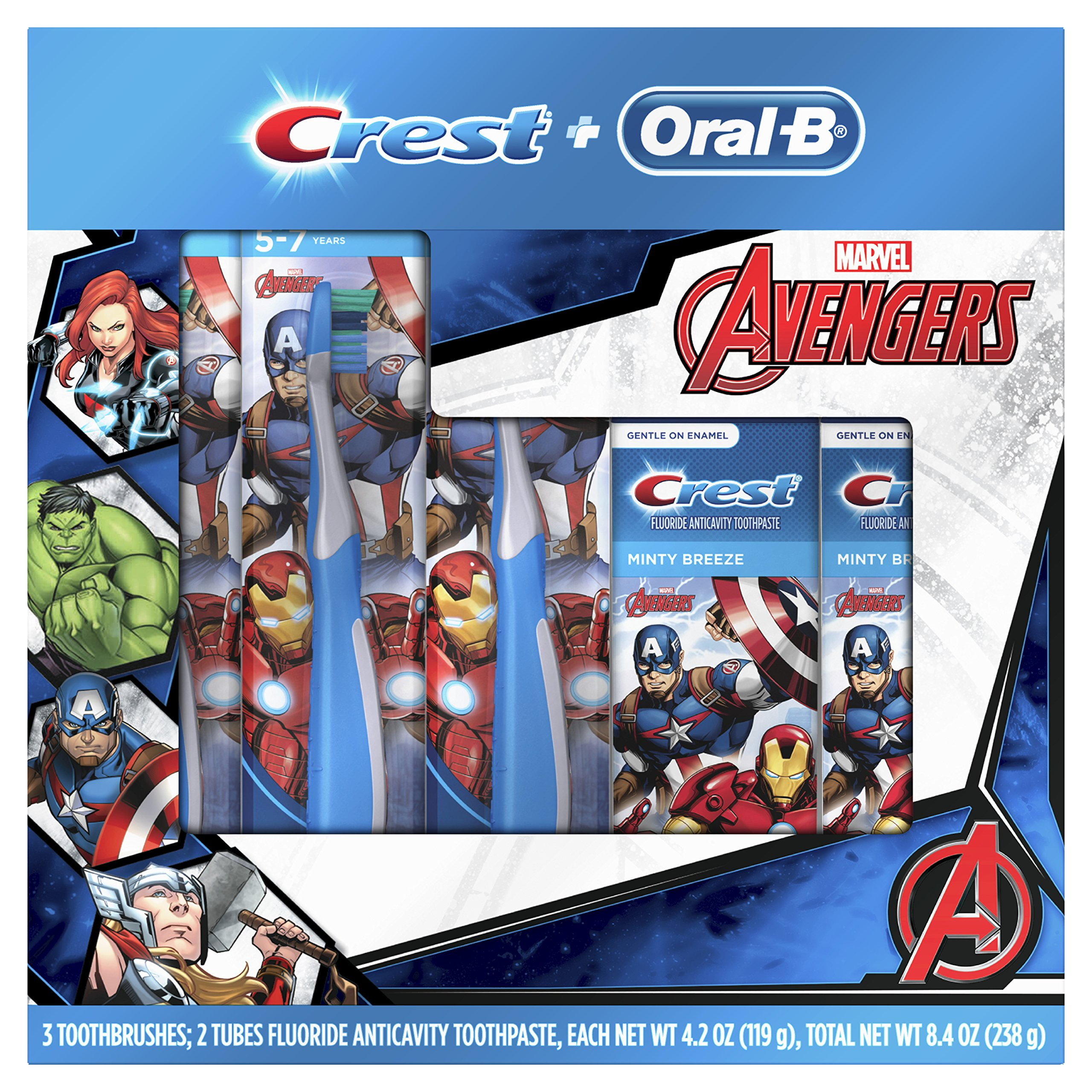 Oral-B and Crest Kids Holiday Pack Featuring Marvel's Avengers, Kids Two Fluoride Anticavity Toothpastes and Three Toothbrushes