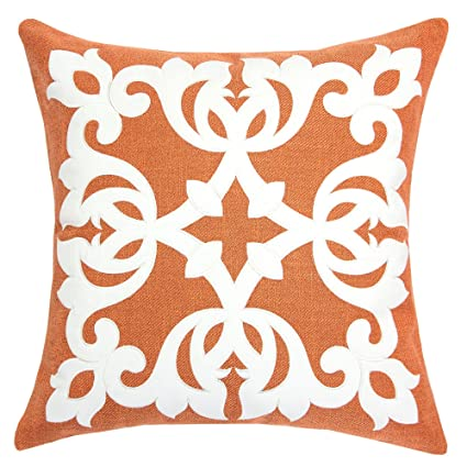 Incredible Homey Cozy Applique Throw Pillow Cover Orange Burlap Linen Damask Vine Large Sofa Couch Pillow Sham 20X20 Cover Only Gmtry Best Dining Table And Chair Ideas Images Gmtryco