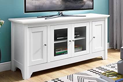 WE Furniture 52u0026quot; Wood TV Media Stand Storage Console   White