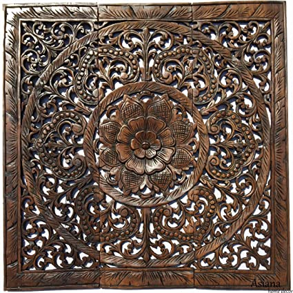 Amazon Com Headboard Sacred Fig Leaf Wood Carved Wall Panels Lotus