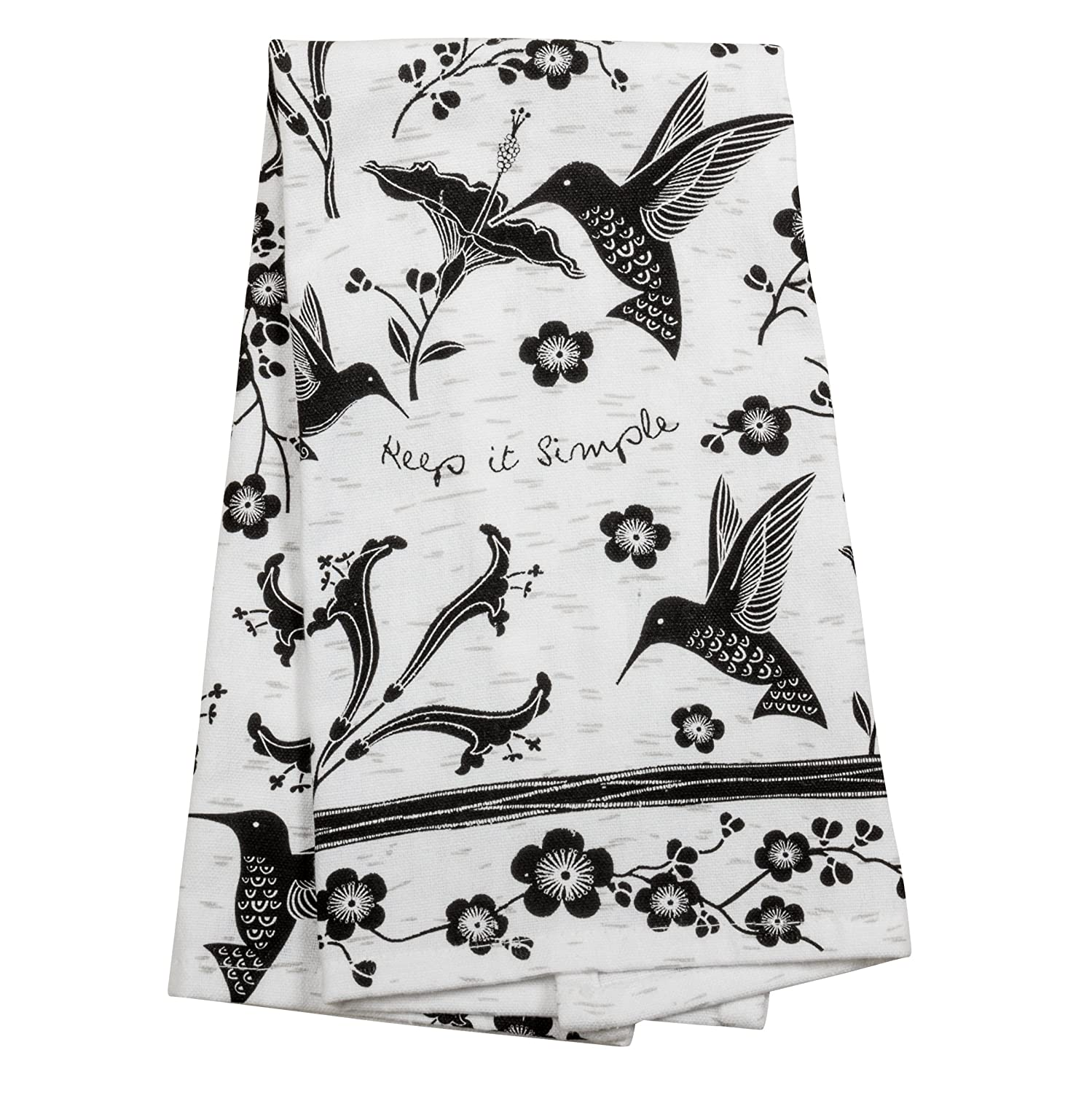 Karma Gifts Black and White Boho Tea Towel, Hummingbird