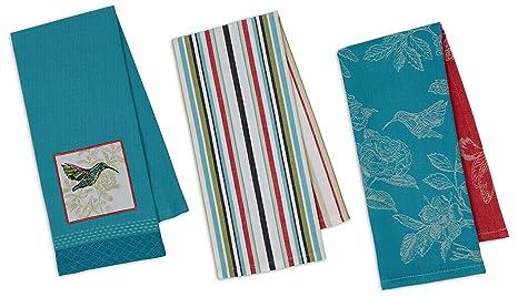 Southern Living Set Of 2 KitchenCotton Tea Towels Aqua Floral /& Plaid New