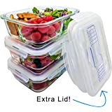 Glass Meal Prep Containers 3 Compartment Bento Box, Lunch Box Set Leak Proof Locking Lids with Utensil/Cutlery Compartment Oven, Microwave Safe (3-Pack, 35.5 oz) EXTRA CUTLERY LID!!