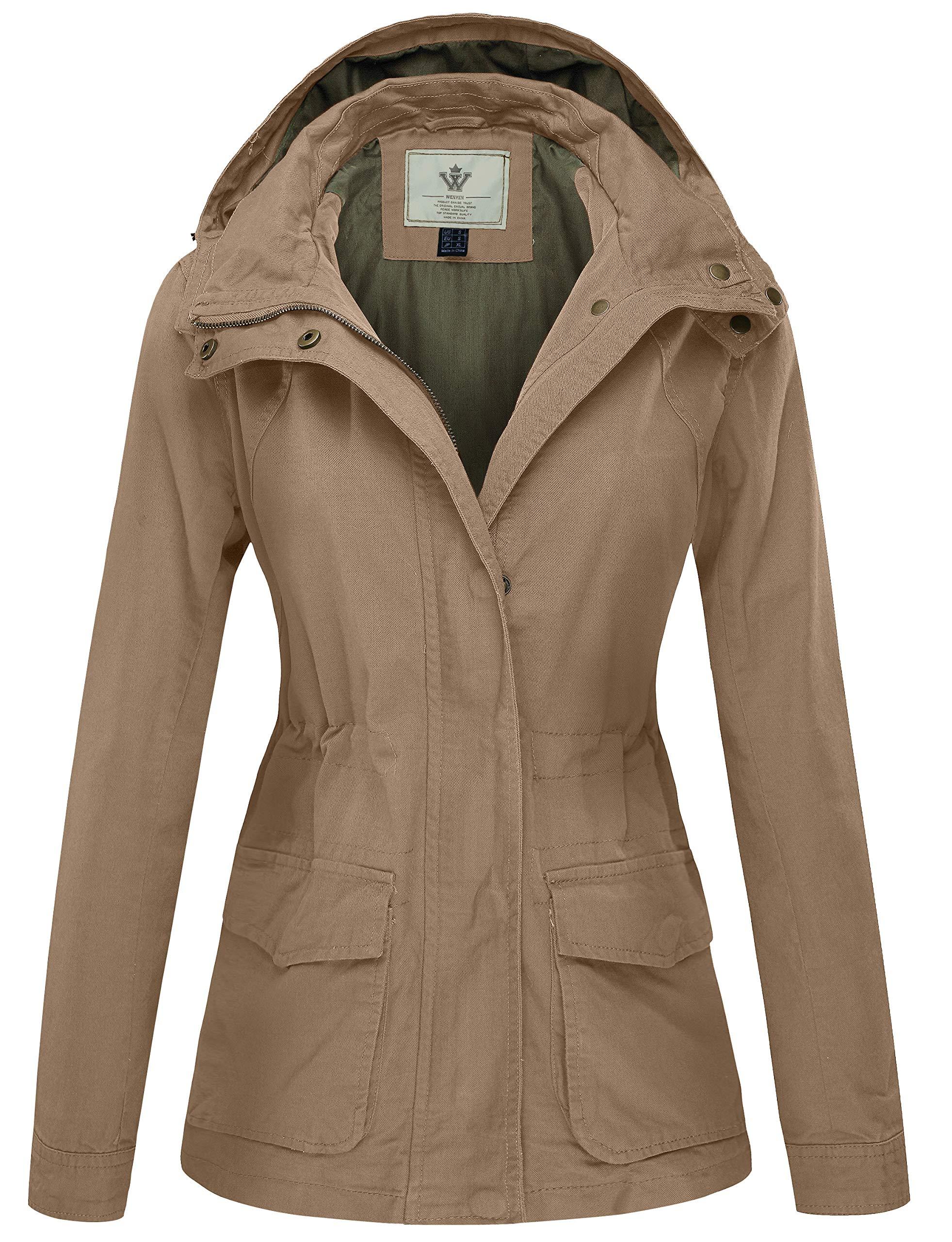 WenVen Women's Utility Military Anorak Jacket Pockets(Khika,Large)