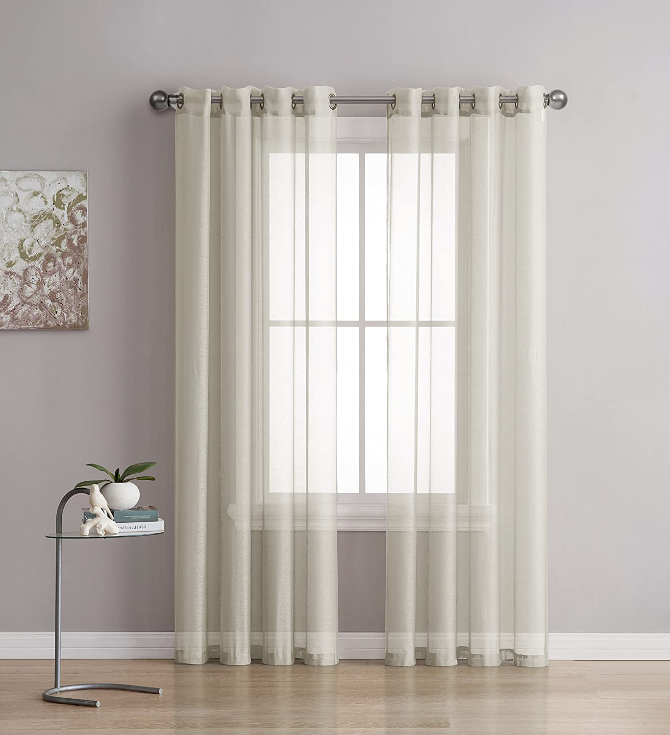 Grommet Semi-Sheer Curtains - 2 Pieces - Total Size 108 Inch Wide (54 Inch Each Panel) - 63 Inch Long - Panel Beautiful, Elegant, Natural Light Flow, ...