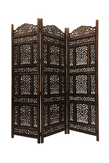 Orientalischer Paravent Raumteiler Aus Holz Abhinava 150 X 180cm Hoch In  Braun | Indischer Trennwand Als