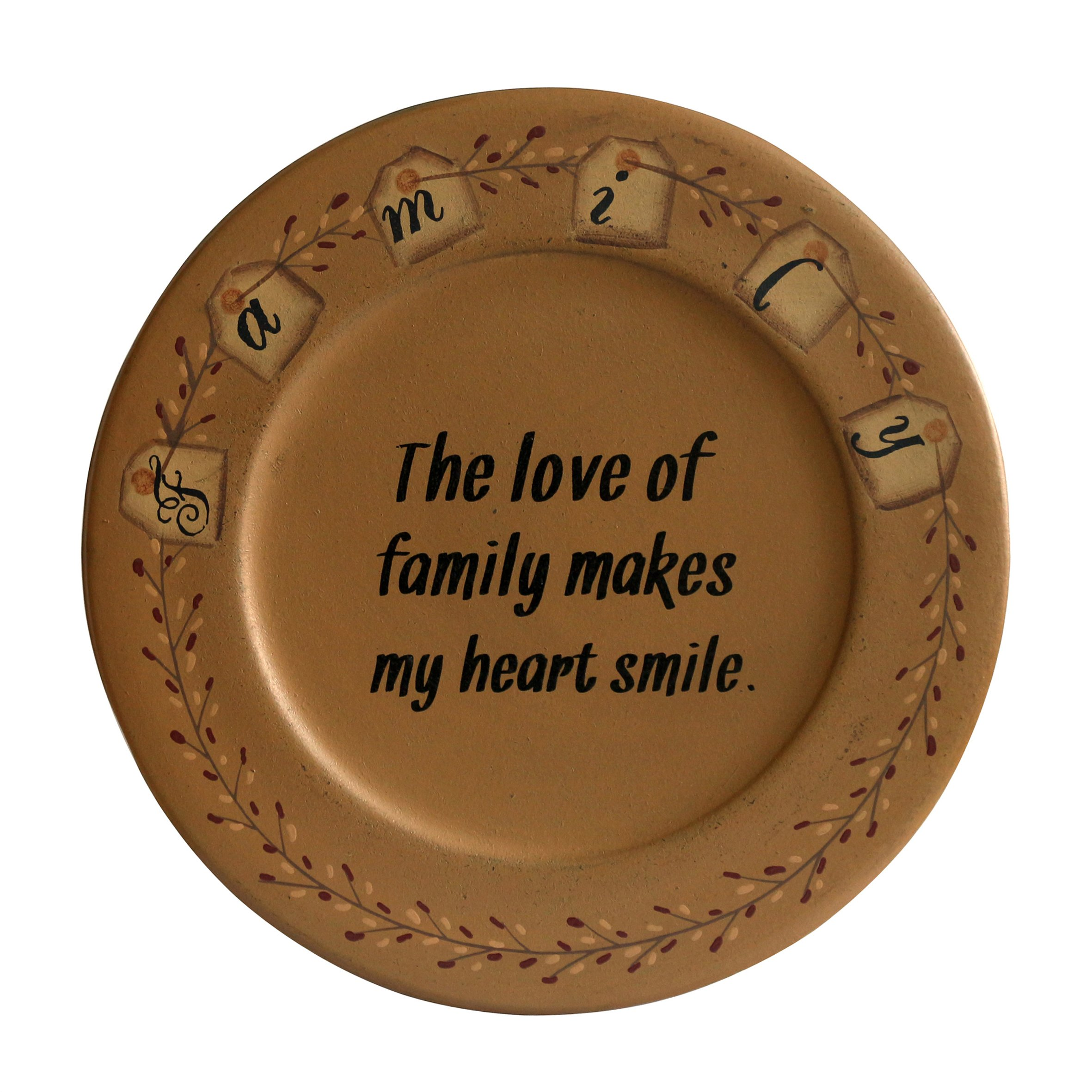 CVHOMEDECO.. Primitive Country Wood Decorative Plate Round Vintage Display Wooden Family Plate Home Décor Art, 9-1/2'' Dia. X 3/4''