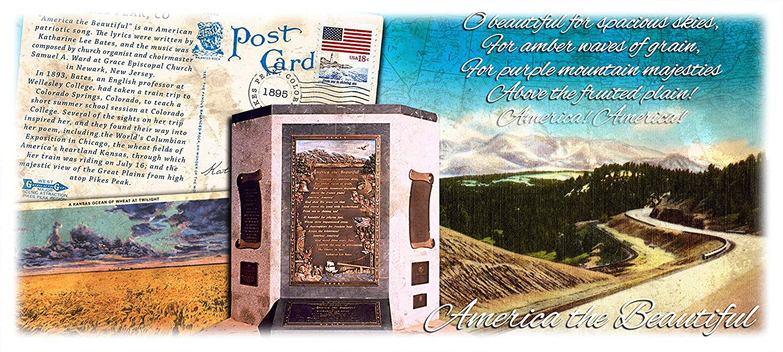 America the Beautiful Multi Purpose Burlap 2 Canvas Pocket Tote Carryall 16W X 13H 141