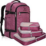 Hynes Eagle Travel Backpack for Men 40L Flight Approved Carry on Backpack with 3pcs Packing Cubes Violet