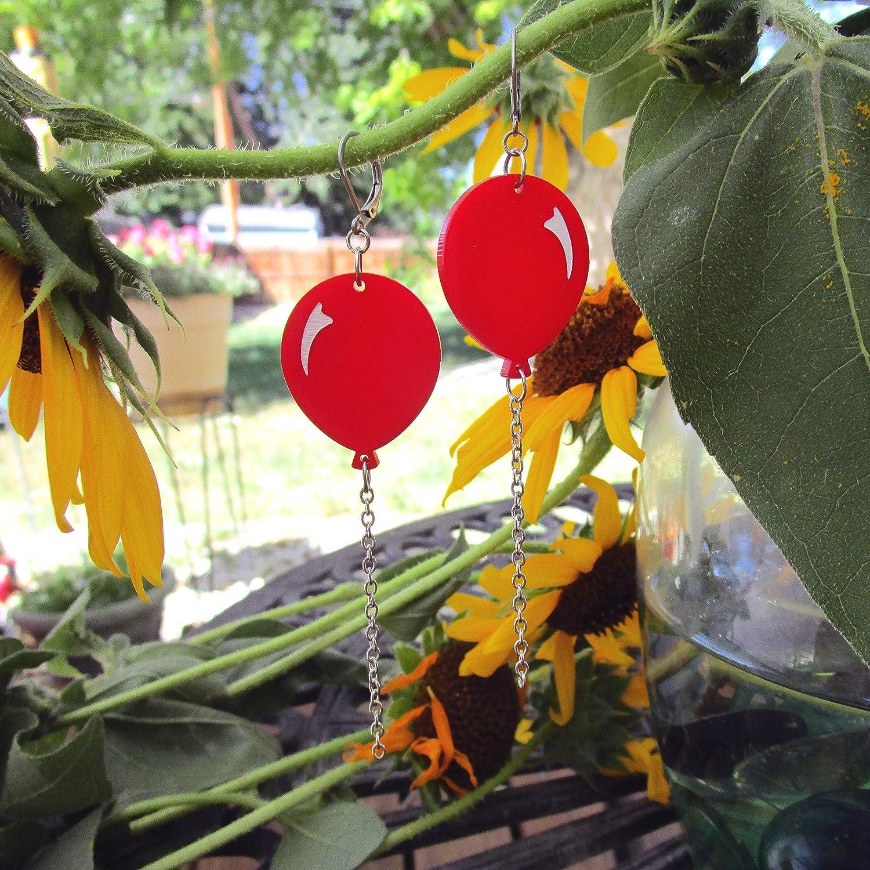 Red Circus Balloon Lever Back Dangle Earrings Clown Fair Creepy Art Scary Movie