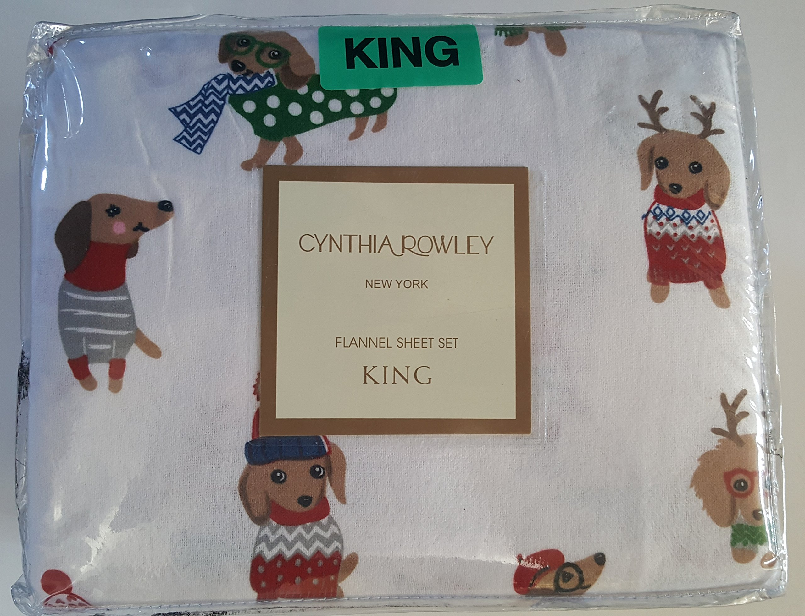 Cynthia Rowley Queen Sheet Set Christmas Dogs with Hats Turkish Flannel Cotton 4 Piece Animal Print Bedding White Red Blue