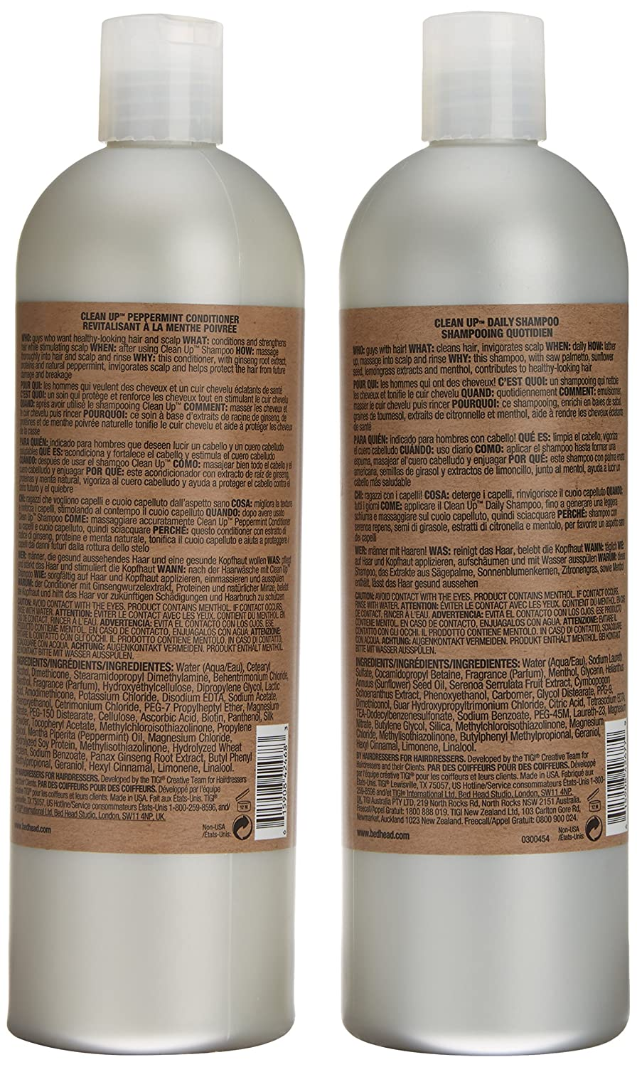 BED HEAD by TIGI for Men Clean Up Tween Duo Daily Shampoo & Conditioner for Normal Hair 2x750 ml 615908950830 S-TG-143-01