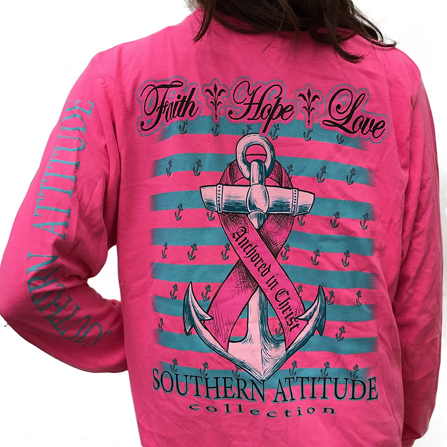Southern Attitude Hope Breast Cancer Awareness Pink Long Sleeve Shirt