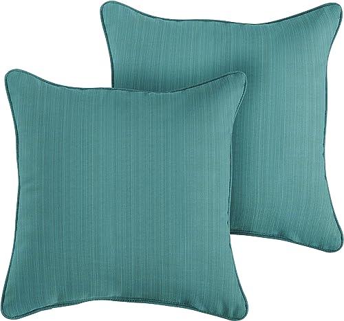 1101Design Sunbrella Dupione Deep Sea Corded Decorative Indoor Outdoor Square Throw Pillow, Perfect for Patio Decor – Textured Sea Blue 22 Set of 2