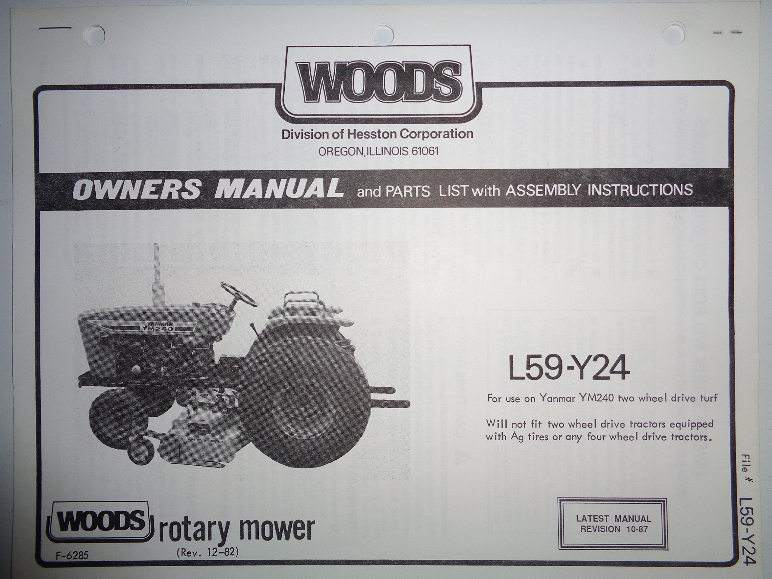 Woods L59 Y24 Rotary Belly Mower Operators/Parts Manual 12