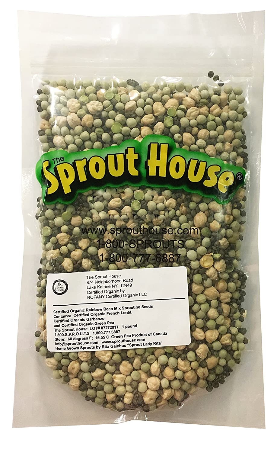 The Sprout House Certified Organic Sprouting Seeds Rainbow Bean Mix Garbanzo, Lentil, Green Pea,1 lb