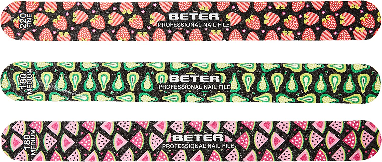 Beter 5998 - Pack de 3 limas de fibra de vidrio con decoración frutal