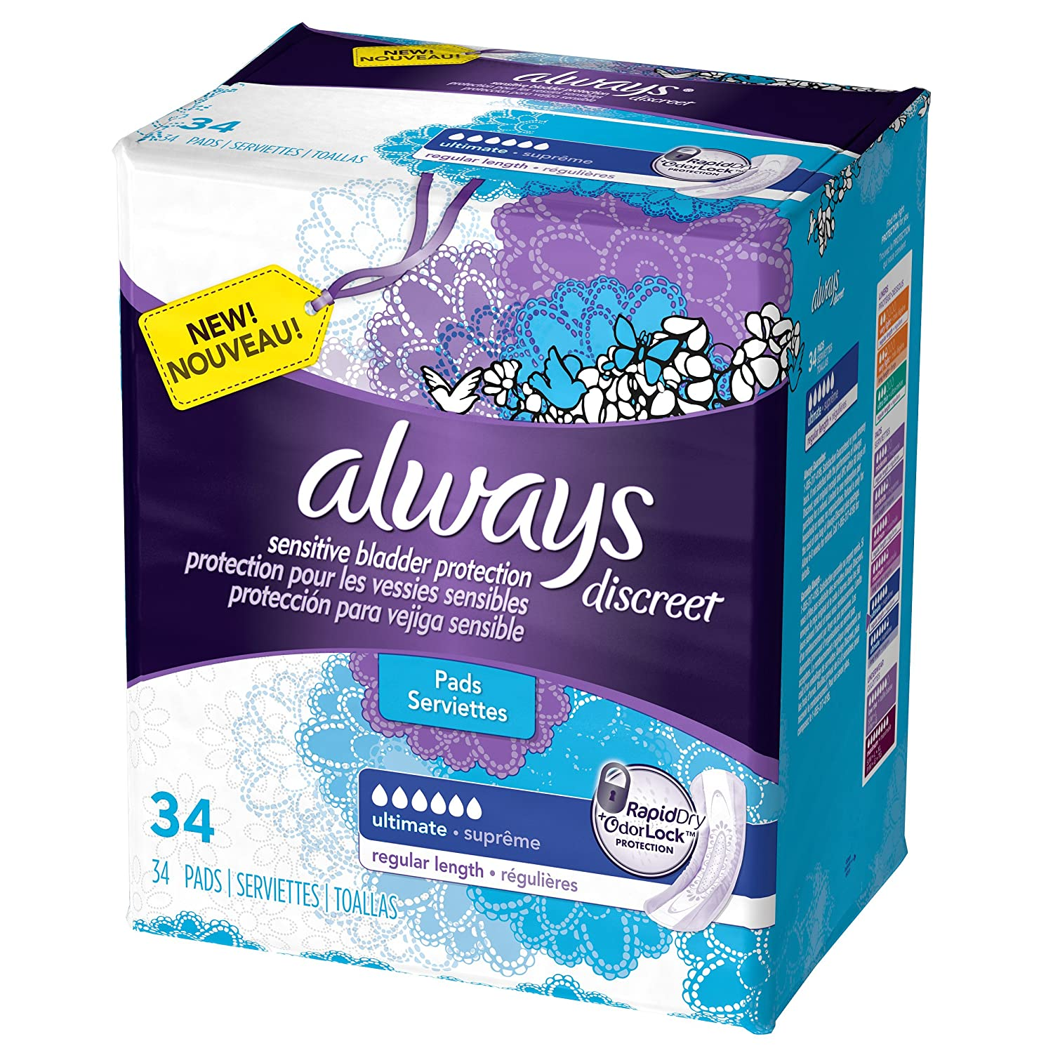 Amazon.com: Always Discreet Incontinence Pads, Ultimate Absorbency - 34 ct - Ultimate: Health & Personal Care