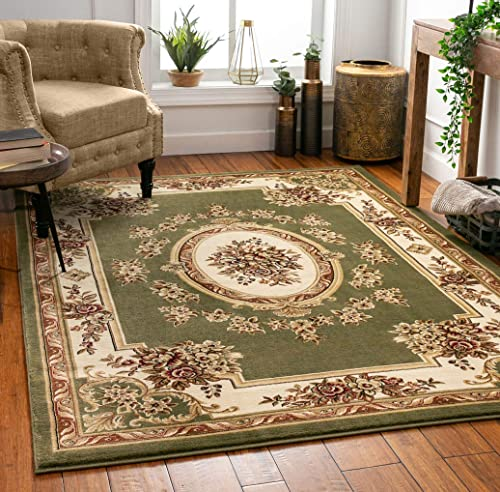 Pastoral Medallion Green French Area Rug European Formal Traditional Area Rug 5' x 7' Easy Clean Stain Fade Resistant Shed Free Modern Classic Contemporary Thick Soft Plush Living Dining Room Rug