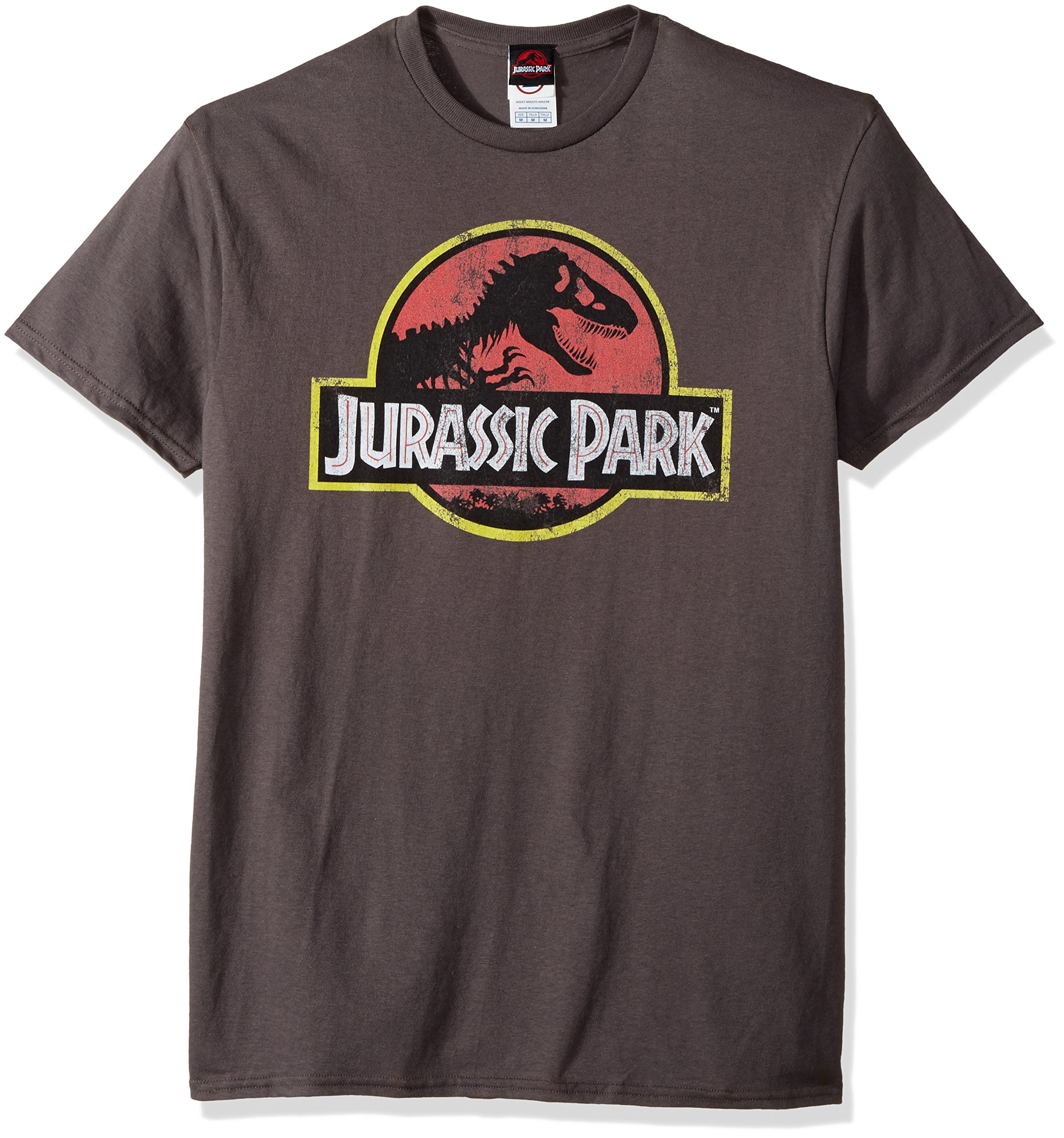 Jurassic Park Men's Movie Logo T-Shirt, Charcoal, Large