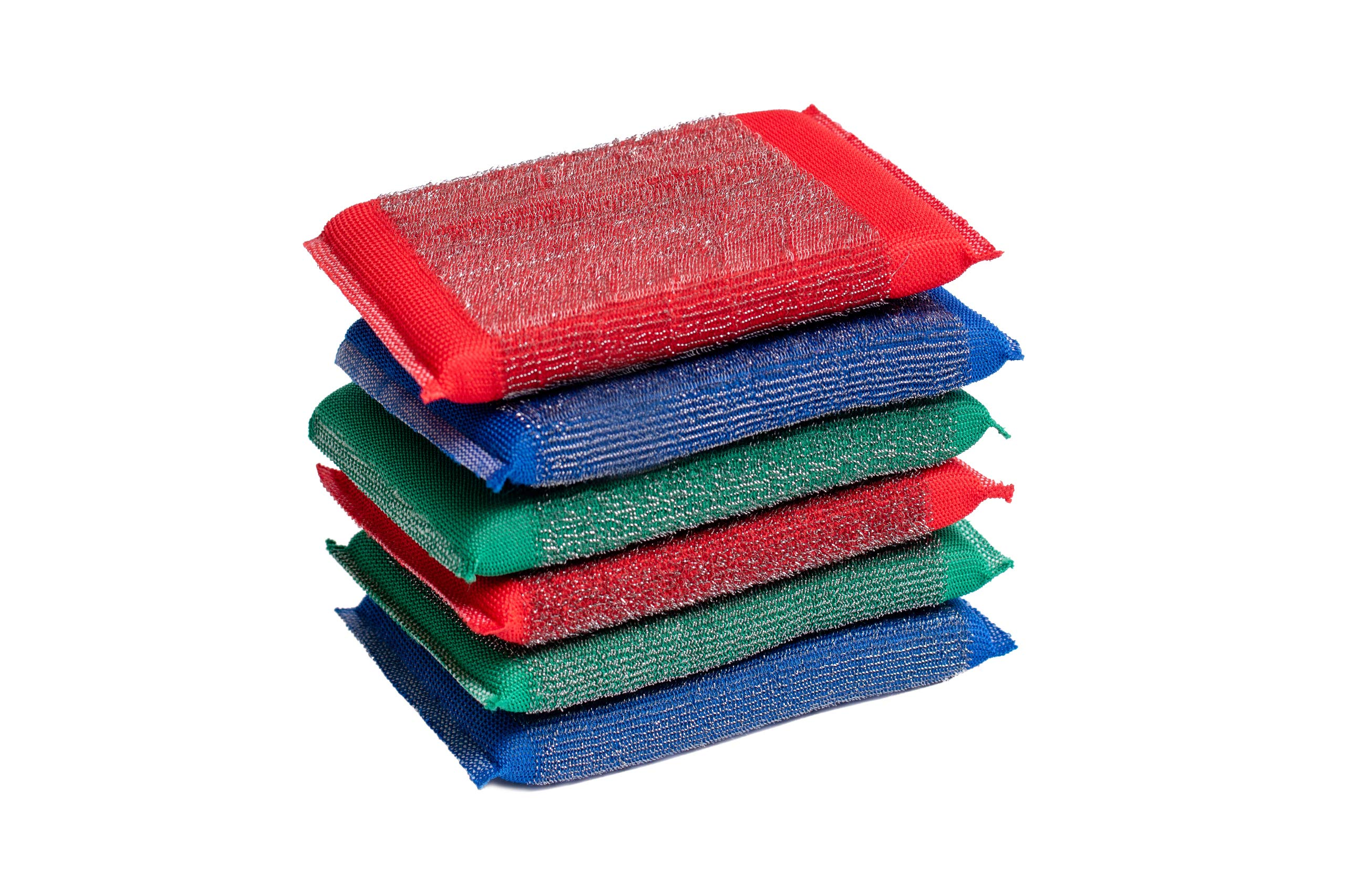 Blue & Green Iron Scouring Pads – Incredibly Tough, Heavy Duty & Long-Lasting Scrubbing Sponges. for Pots, BBQ Grills, Microwaves & Stovetops (6)