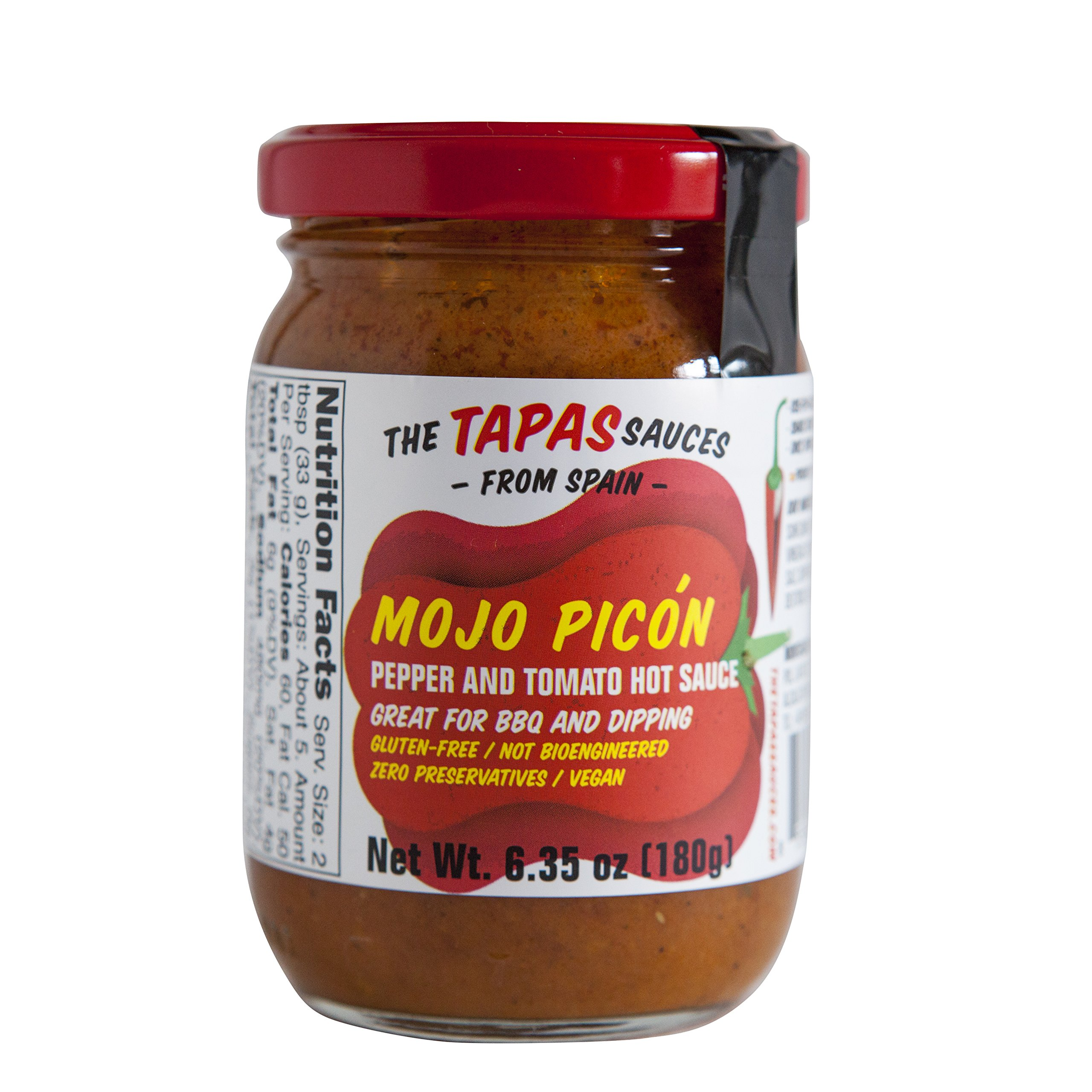 ''The Tapas Sauces'' Combo (18) of 9 units Mojo Picon (Pepper and Tomato Mild Hot Sauce) 6.35 oz Glass Jars and 9 units of Salsa Verde (Parsley and Garlic) 6.35 oz Glass Jar