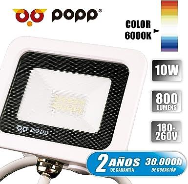 Popp PACK 2 Floodlight Led Foco Proyector Led para Exterior Iluminación Decoración 6000k luz fria Impermeable IP65 blanco con cristal opal y Resistente al agua. (10): Amazon.es: Iluminación