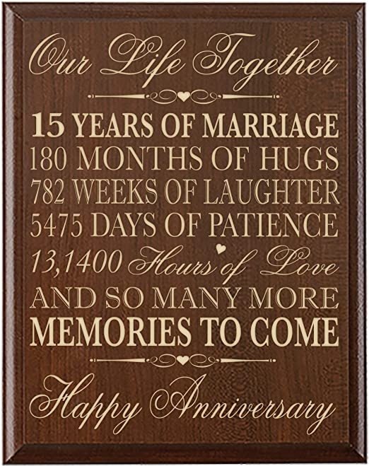 Lifesong Milestones 15th Wedding Anniversary Gift For Couple 15th Anniversary Gifts For Her 15th Wedding Anniversary Gifts For Him Special Dates To Remember By Cherry Amazon Ca Home Kitchen
