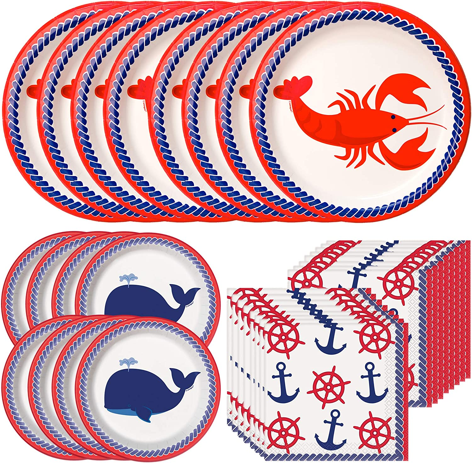 Unique Nautical Party Supplies Bundle   Paper Plates and Napkins   Fishing Party, Summer Seaside, Ocean Boating Crab Whale Theme