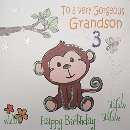 White cotton cards gl224 3 cheeky monkey to a very gorgeous white cotton cards gl224 3 cheeky monkey to a very gorgeous grandson 3 happy bookmarktalkfo Images
