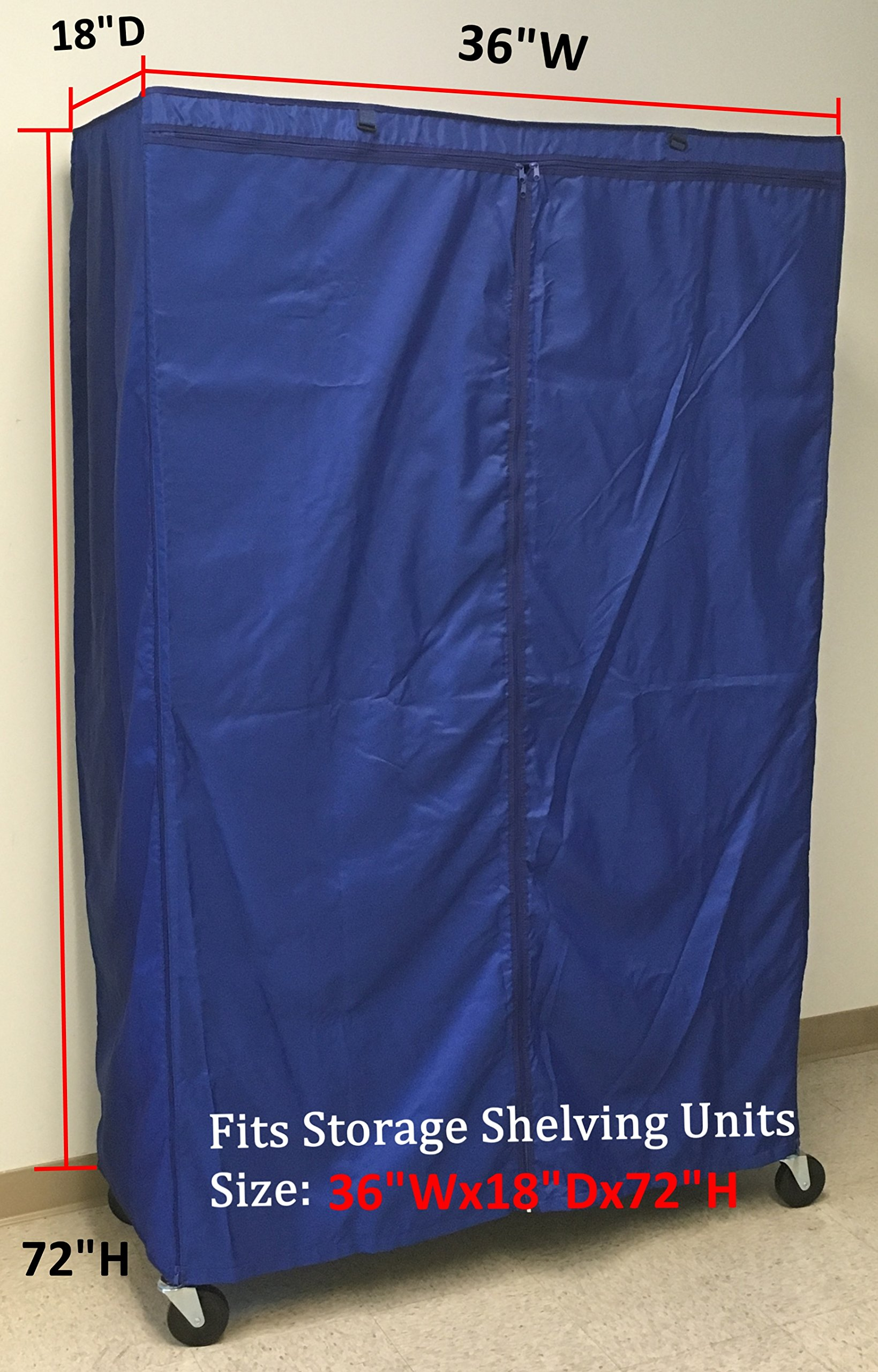 Storage Shelving unit cover, fit racks 36''Wx18''Dx72''H (Cover Only, Royal Blue)