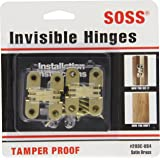 """SOSS Mortise Mount Invisible Hinges with 4 Holes, Zinc, Satin Brass Finish, 1-3/4"""" Leaf Height, 1/2"""" Leaf Width, 23/32"""" Leaf Thickness, #6 x 1"""" Screw Size (1 Pair)"""