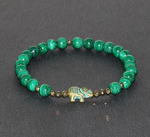 Malachite with Elephant Charm Bracelet,Sterling Silver Charm Bracelet,Malachite Bracelet,Stretch Bracelet,Yoga Bracelet,Green Beads Bracelet