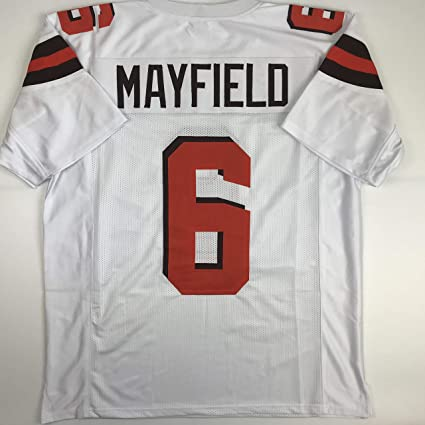 e6de9ce06 Amazon.com  Unsigned Baker Mayfield Cleveland White Custom Stitched  Football Jersey Size Men s XL New No Brands Logos  Sports Collectibles