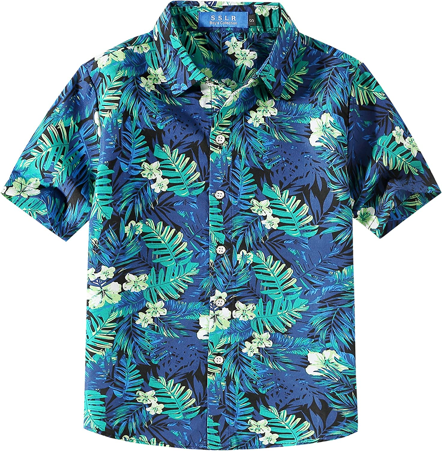 SSLR Big Boy's Summer Button Down Casual Short Sleeve Hawaiian Shirt