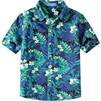 SSLR Camisa Hawaiana Colorida de Manga Corta de Flores de Verano para Niño